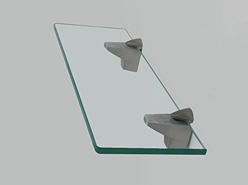 XVL 14-Inch Bathroom Glass Shelf, Brushed Nickel GS3004A-G