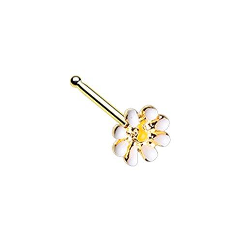 Inspiration Dezigns Nose Stud Ring Dainty Daisy Enamel L-Shape or Bone 20G (Golden, Bone Shape) -