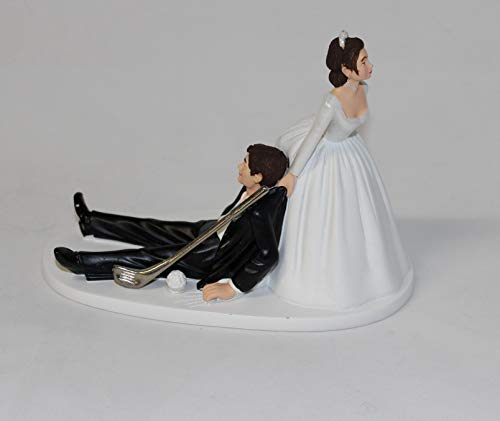 Wedding Party Reception Golf Golfer Clubs Dark Hair Couple Cake Topper ()