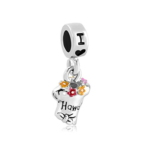 ReisJewelry Love Travel Charms Sydney Hawaii London Rome Pisa Tower Eiffel Tower Charm Bead for Bracelets (I Love ()