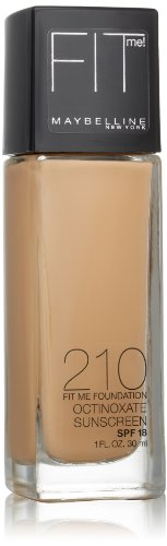 Maybelline New York Fit Me! Foundation, 210 Sandy Beige, SPF 18, 1 Fluid Ounce