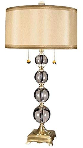 Dale Tiffany GT701217 Aurora Crystal Table Lamp, Antique Brass and Fabric Shade