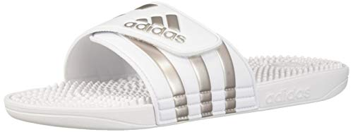 adidas Adissage Sandal, Platinum Metallic/White, 10 Medium - Womens Sandal Adidas Adissage