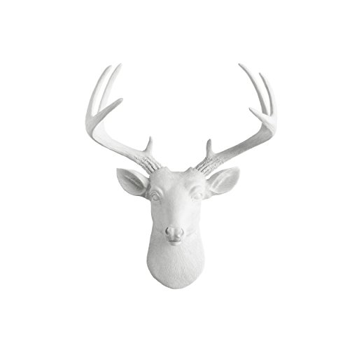 Mini Deer by Wall Charmers | White Faux Head Mount Bust Fake Animal Resin Taxidermy Sculpture Stag Buck Antler Fauxidermy Mounted Replica Decor Art