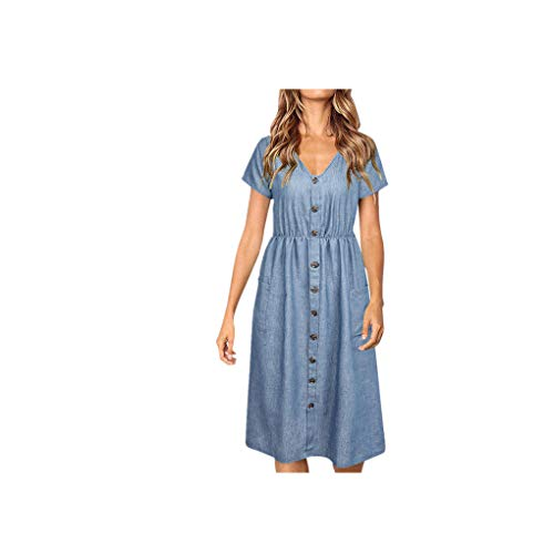 2019 Miuye Rompers for Women Casual Button Denim Dress Summer Short Sleeve Beach Maxi Swing Dress with Pocket Blue (Rugby 36' Accent)