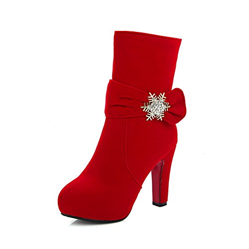 VogueZone009 Damen Niedrig-Spitze Reißverschluss Mattglasbirne Hoher Absatz Stiefel, Rot, 36