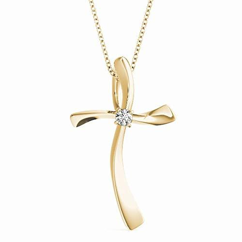 Yellow 14KT 1/20 CT Single Solitaire Diamond Cross Pendant Necklace Amcor Design (0.05 Ct Single)