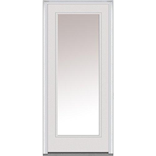 National Door Company ZA00571L Fiberglass Smooth Primed, Left Hand In-swing, Prehung Front Door, Full Lite, Clear Glass, 36