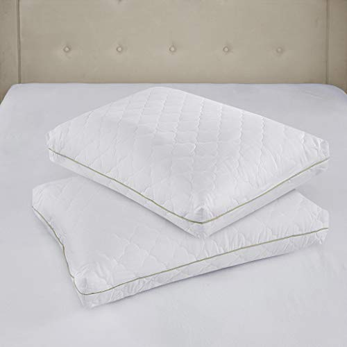 (Sleep Philosophy Wonder Wool 300TC Cotton Sateen Quilted Pillow Pair, Standard, White 2 Each )
