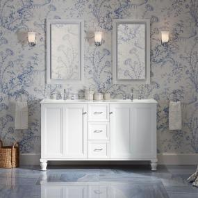 KOHLER K-99519-LG-1WA Damask Vanity with Furniture Legs and 2 Doors and 1 Drawer, 36-Inch, Linen White - Combines with Solid/Expressions(TM) and Ceramic/Impressions(TM) vanity tops (sold separately) for a complete vanity Frameless construction with full-overlay doors Three-way adjustable slow-close door hinges with 110-degree opening capability for easy cabinet access - bathroom-vanities, bathroom-fixtures-hardware, bathroom - 31lB8EtwLXL -