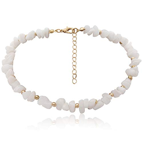 (Aegenacess Y Necklace Lock Pendant Simple Cute Necklaces Long Multilayer Chain Fashion Jewelry Women Girls Gift for Her (White Stone Choker))
