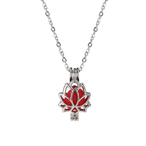 (Fashion 3D Lotus Flower Pearl Cage Silver Plated Locket Pendant Necklace Gifts)