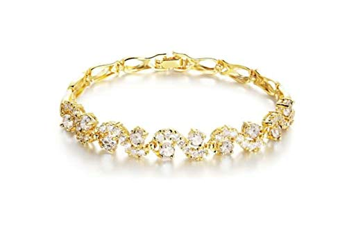 KnSam Bracelets with Charms Aolly Bracelet for Women Crystal Inlay White (14k Gold Charm Runner)