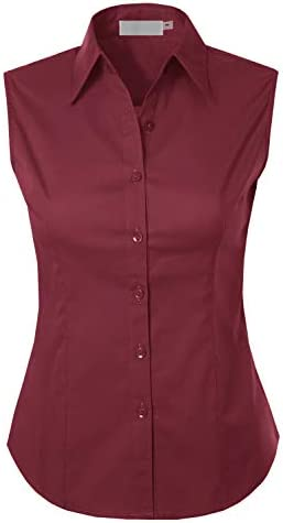 MAYSIX APPAREL Sleeveless Stretchy Button Down Collar Office Formal Casual Shirt Blouse for Women Fit XS-1XL