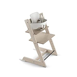 Tripp Trapp by Stokke Adjustable Wooden Whitewash Baby High Chair (Includes Baby Seat with Harness)