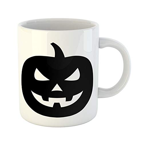 (Emvency Coffee Tea Mug Gift 11 Ounces Funny Ceramic Jack O Lantern Halloween Carved Pumpkin Flat for Apps and Websites Gifts For Family Friends Coworkers Boss)
