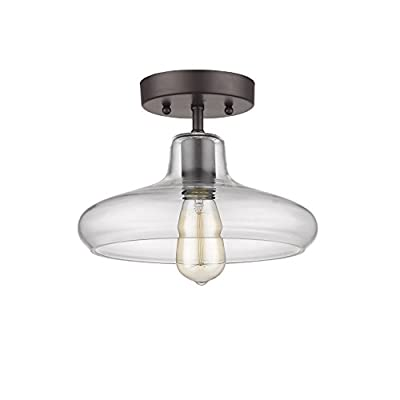 "Chloe Lighting CH854008CL11-SF1 Industrial Industrial-Style 1 Light Rubbed Bronze Semi-Flush Ceiling Fixture 11"" Shade"