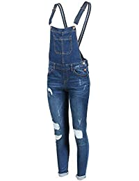 Women's Ripped Distressed Skinny Stretch Denim Overall