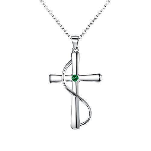BriLove 925 Sterling Silver Cross Necklace May Birthstone Jewelry CZ Faith Hope Love Pendant Necklace for Women Emerald Color