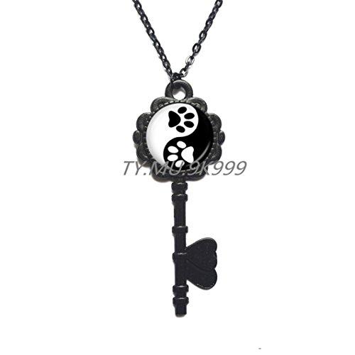 Yin Yang Key Necklace Pet Paw Print Key Pendant Handprint Art Key Necklace Tai Ji Jewelry for Animal Lover Pet Lover Cat Dog (Handprint Halloween Cat)