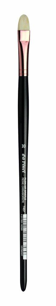 da Vinci Hog Bristle Series 7407 Plein Air Oil Painting Brush, Filbert Short with Black Lacquered Handle and Copper Ferrule, Size 10