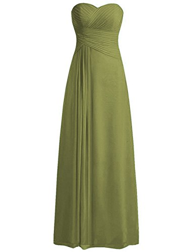 ModeC Women's Sweetheart Chiffon Long Bridesmaid Dresses Ruched Evening Gowns Olive US16W Ombre Silk Chiffon Dress