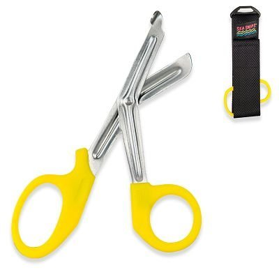 Innovative New Safety and Rescue Scuba Diver EMT Scissors Shears with Sheath - Hi-Visibility Yellow