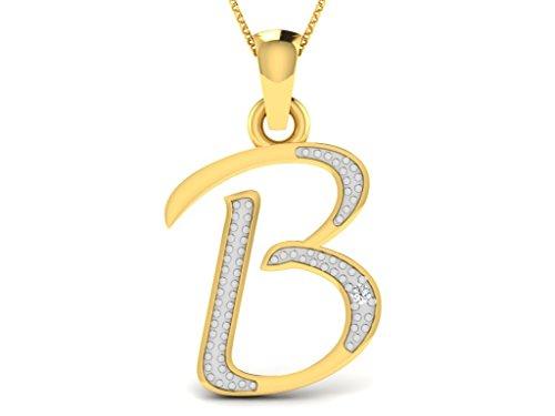 Or Jaune 14 ct Pendentifs Diamant en forme de B alphabet, 0.01 Ct Diamant, GH-SI, 0.41 grammes.