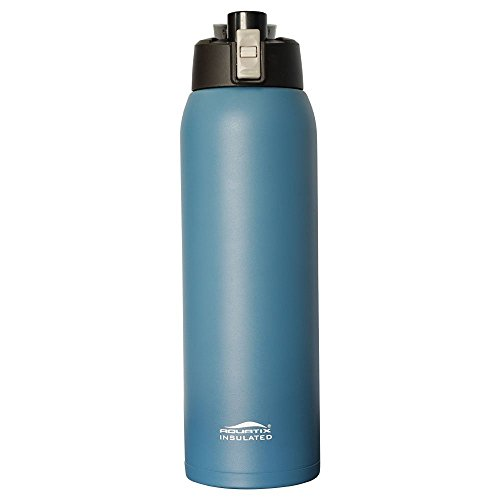 Aquatix (Dark Blue, 32 Ounce) Pure Stainless Steel Double Wall Vacuum Insulated Sports Water Bottle with Convenient Flip Top - Keeps Drinks Cold for 24 Hours, Hot for 6 Hours (Top Flip Drink)
