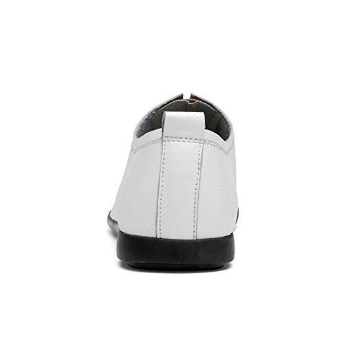 Business Conducción Slip Mocasines Ons Zapatos Blanco Marrón Work de Negro y Casual de Cuero Blanco Formal de Hombre Zapatos RfnnOqv