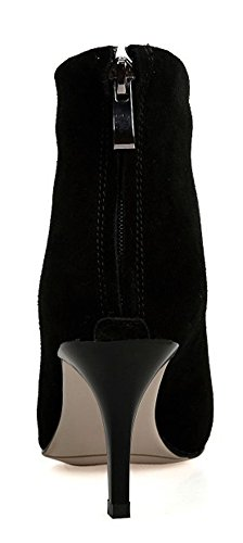 Black Zipper Boots Stiletto Women's Aisun Heels Short Dressy Frosted tq8zzv
