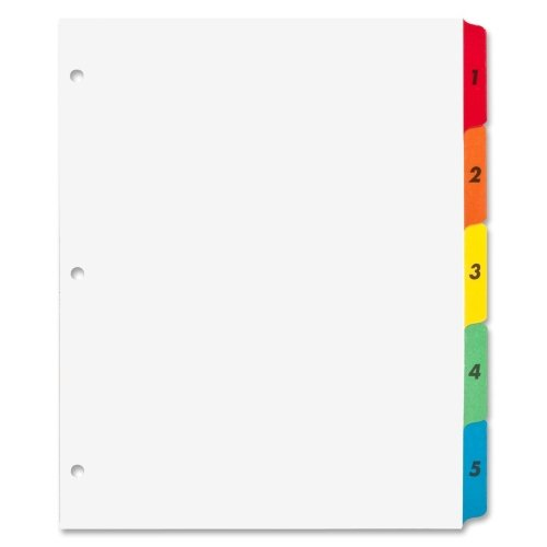 Sparco 21900 Index Dividers W/Table Of Contents, 1-5, 5 Tabs/ST, Multi (Colored Index Dividers Preprinted)