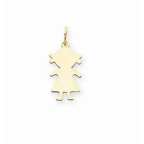 14k Yellow Gold Plain Small 0.009 Gauge Engravable Girl Charm Pendant