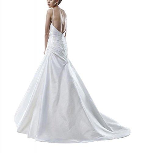 GEORGE Einfache BRIDE Brautkleider Ausschnitt Buegel Schatz Hochzeitskleider Weiß Spaghetti aUaTr