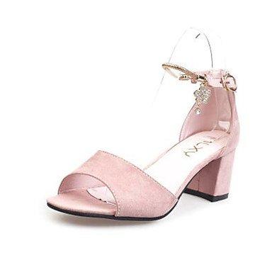 LvYuan Mujer Sandalias Confort Aterciopelado PU Primavera Casual Confort Negro Gris Rosa Plano blushing pink