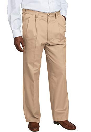 KingSize Men's Big & Tall Relaxed Fit Wrinkle-Free Expandable Waist Pleated Pants, Dark Khaki Big-6638 ()