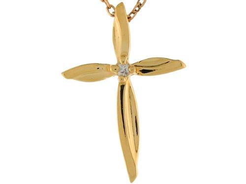 14ct 2.0cm Or Jaune Pendentif Petite Croix éternelle Sertie De Diamants