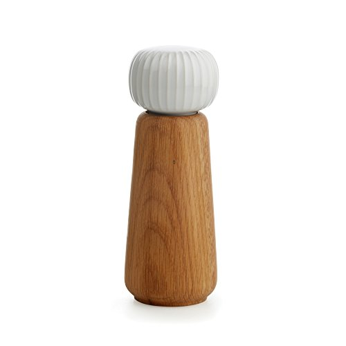 Kahler Hammershoi - Oak and Porcelain Salt Mill / Salt Grinder (White)