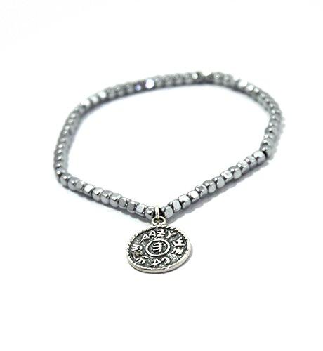 MIZZE Jewelry Magnetic Hematite Charm Bracelet with King Solomon Silver Prosperity Amulet for Women - Energy Health Bracelet Adjustable Size 6.5