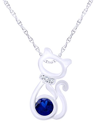 wishrocks Mothers Gift 14K White Gold Over Sterling Silver CAT Pendant Necklace