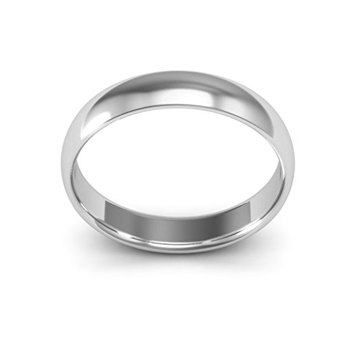 18K White Gold men's and women's plain wedding bands 4mm comfort-fit light, 10 by i Wedding Band (Image #2)
