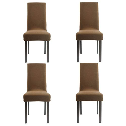 Homluxe Knit Spandex Stretch Dining Room Chair Slipcovers (4, Coffee Knit)