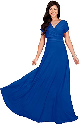 KOH KOH Plus Size Womens Long Cap Short Sleeve V-Neck Flowy Cocktail Slimming Summer Sexy Casual Formal Sun Sundress Work Cute Gown Gowns Maxi Dress Dresses, Cobalt/Royal Blue 4XL 26-28