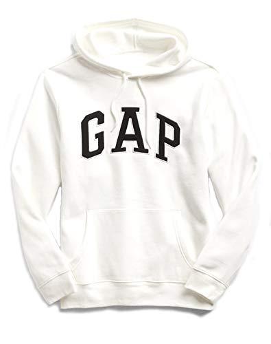 (GAP Mens Fleece Arch Logo Pullover Hoodie (XX-Large, Bone White/Black))