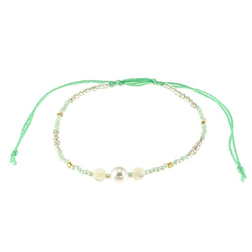 Genuine Cultured Fresh Water Pearl on Adjustable Seed Beads and Cord Bracelet (Mint Green) - Mint Green Freshwater Pearl