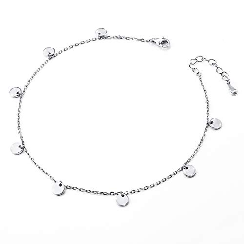 - Dot Slice Anklet for Women Girl S925 Sterling Silver Adjustable Beach Style Foot Ankle Bracelet Jewelry Extra 11 Inches