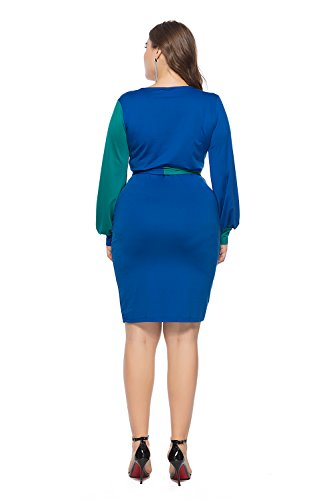 Womens Deep Pencil Midi Dress Tie Bodycon V Front Dresses Long Sleeve Blue Sexy Colorblock Neck Amoin HqUwaEdxd