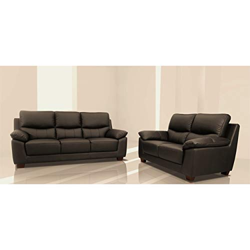 NSIUSA Renzo Italian Leather Match Sofa and Loveseat Set