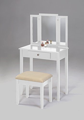 3-Piece Folding Mirror Vanity Set Dresser with Stool - White