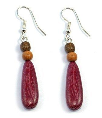 Tica Surf Unique Exotic Wood Pendant Earrings - Teardrop LongExotic Wood Earrings - Teardrop - Pendant Wood Exotic
